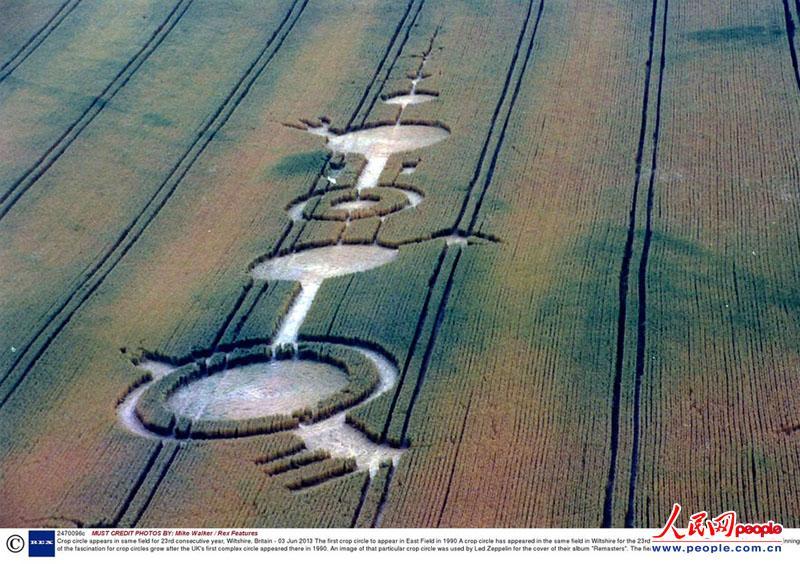 英国威尔特郡连续23年出现麦田怪圈