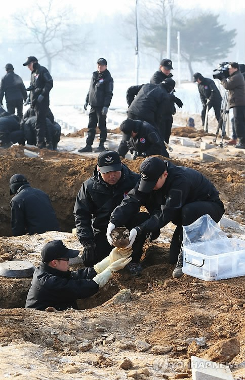 在韩中国人民志愿军遗骸发掘工作正式开始(组