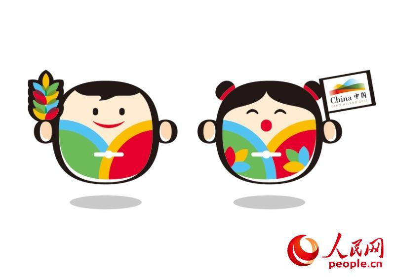 人民网北京2月27日电 (郑青亭)2月27日上午,中国参展2015年意大利米兰世博会新闻发布会在京召开,中国国家馆吉祥物设计方案正式发布。 中国馆吉祥物和和梦梦设计源自天、地、人、和中的和字,并结合惠山泥人的设计原型。 和由禾和口组合而成。禾代表水稻,延伸意义为粮食;口代表饮食,延伸意义为人口。