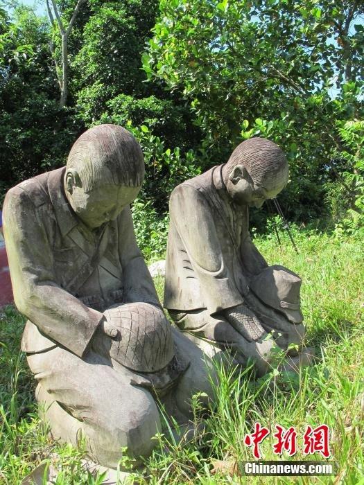 海南村民立日本侵略军将领跪地谢罪石像【3】
