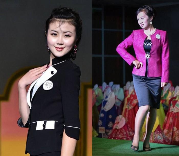 图揭秘平壤年度时装秀:朝鲜美女穿高跟鞋涂大