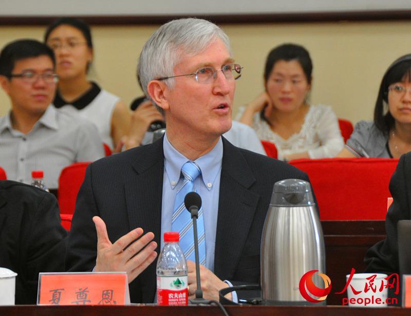 科文顿北京办公室合伙人夏尊恩发言。(实习生 赵京文摄)