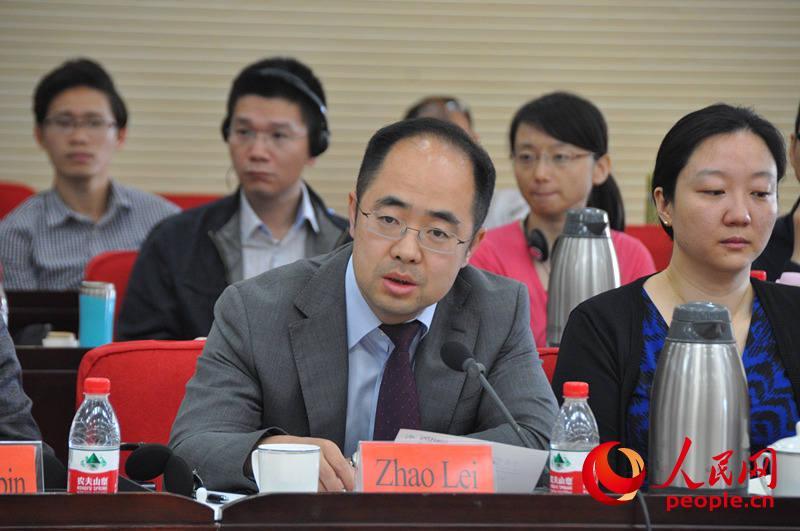 中央党校国际战略研究所国际关系研究室副主任赵磊发言。(实习生 赵京文摄)