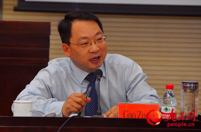 中央党校国际战略研究所副所长高祖贵发言。(实习生 赵京文摄)