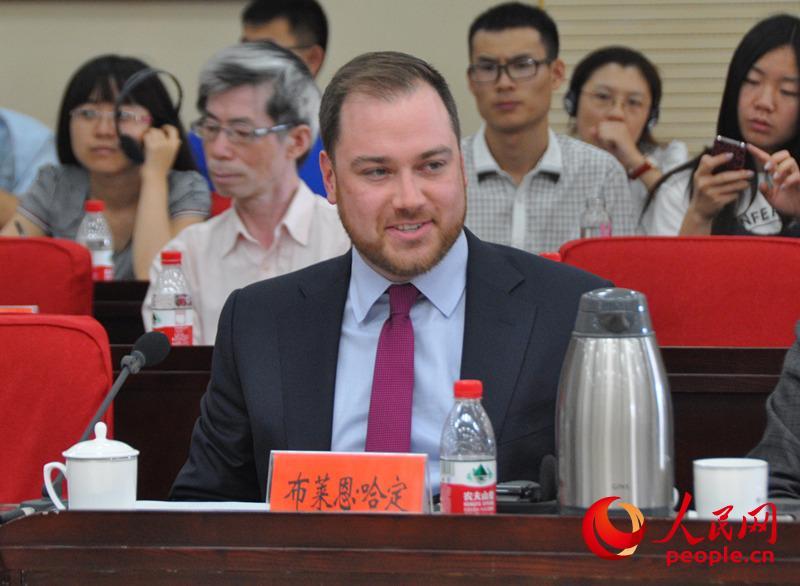美国进步中心东亚、东南亚国家安全和国际政策项目主任布莱恩・哈定发言。(实习生 赵京文摄)