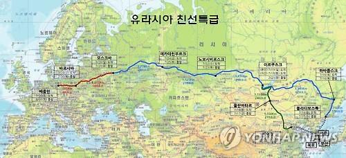 """""""欧亚丝绸之路亲善特级列车""""路线图(韩联社)"""