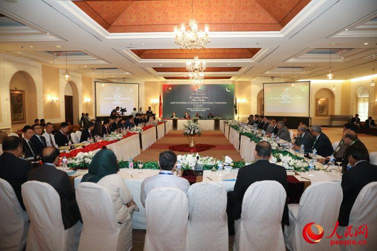 7月8日,在巴基斯坦首都伊斯兰堡召开的中巴科技合作联委会第18次会议现场。 人民网记者 徐伟摄
