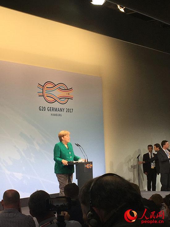 7月8日,德国总理默克尔在G20新闻中心举行记者会。