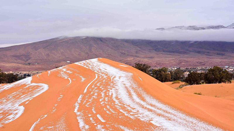 40年内第3次降雪,撒哈拉沙漠身披银装素裹。乔夫·罗宾逊 摄