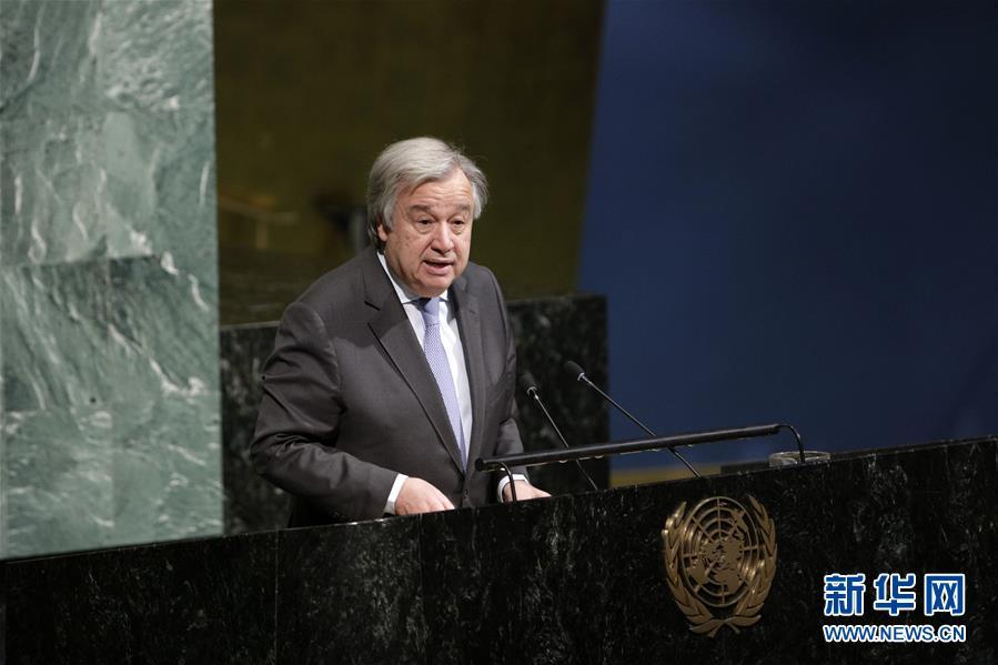3月12日,在位于纽约的联合国总部,联合国秘书长古特雷斯在联合国妇女地位委员会第62届会议上讲话。