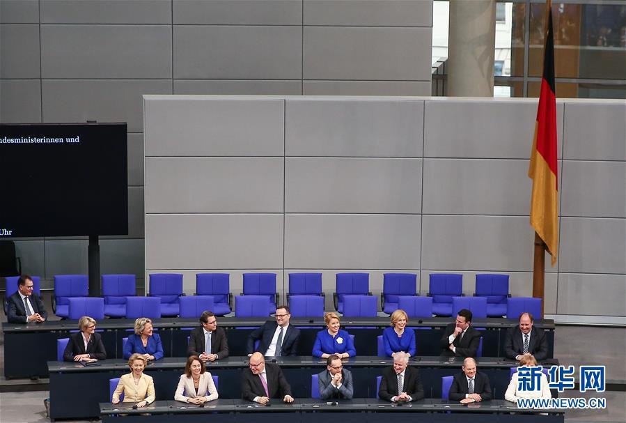 3月14日,在德国首都柏林,德国新一届联邦政府成员出席宣誓仪式。