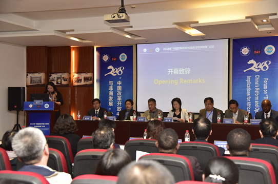 """图为""""中国改革开放40周年与非洲发展""""论坛开幕式现场。(张欣怡 摄)"""