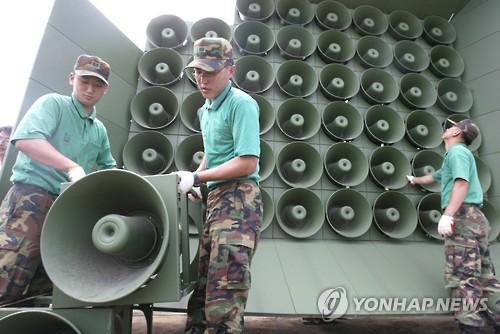 韩国对朝喇叭广播设施(资料图片) 图片来源:韩联社