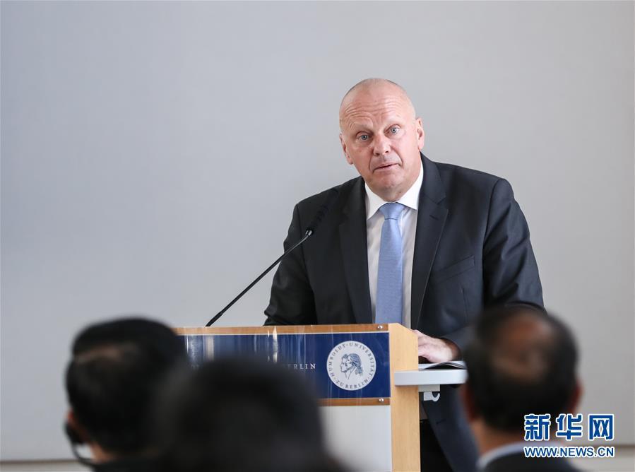 5月7日,在德国首都柏林,德国外交部国务秘书米夏埃利斯在第七届中德媒体对话上致辞。