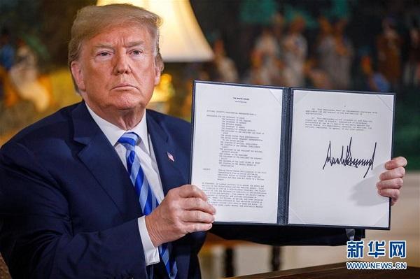 美国总统特朗普8日宣布,美国将退出伊核协议。 新华社发(沈霆 摄)