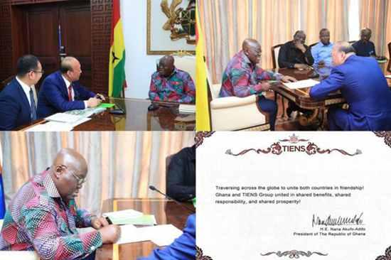 阿库福.阿多总统亲笔签下:飞远千山万水,牵两国情谊。
