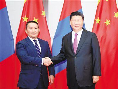 6月10日,国家主席习近平在青岛会见蒙古国总统巴特图勒嘎。新华社记者 燕 雁摄
