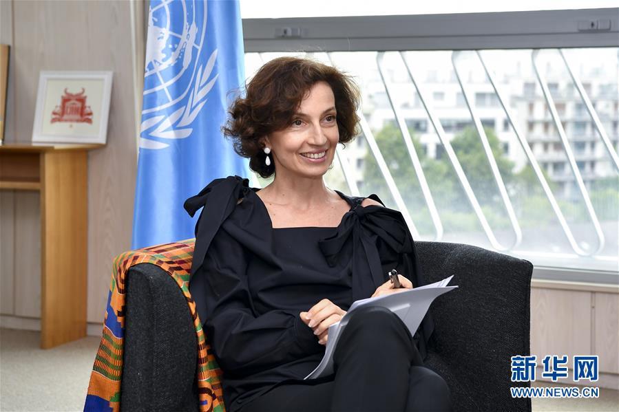 这是7月13日在法国巴黎拍摄的联合国教科文组织总干事奥德蕾・阿祖莱。