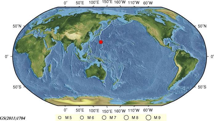 17日凌晨2时22分 日本火山列岛地区发生6.5级地震