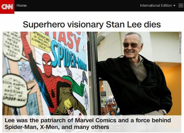 """""""漫威之父""""斯坦·李逝世 享年95岁"""
