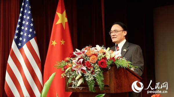 中国驻旧金山总领事王东华在中美建交40周年纪念招待会上发表致辞 (宫欣 摄)