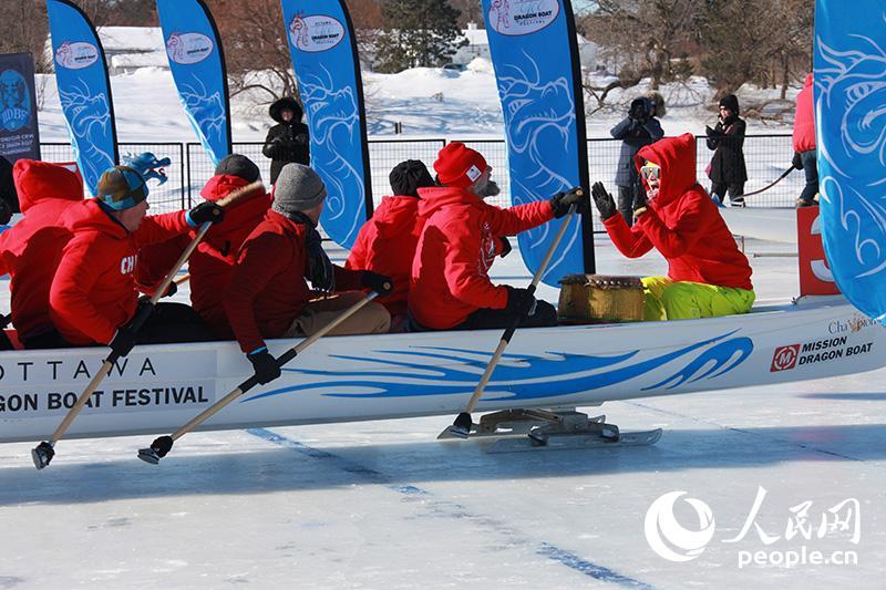 渥太华举行第三届冰上龙舟赛【4】