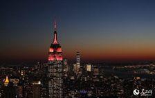 """纽约""""双座地标""""点灯庆中国新年"""