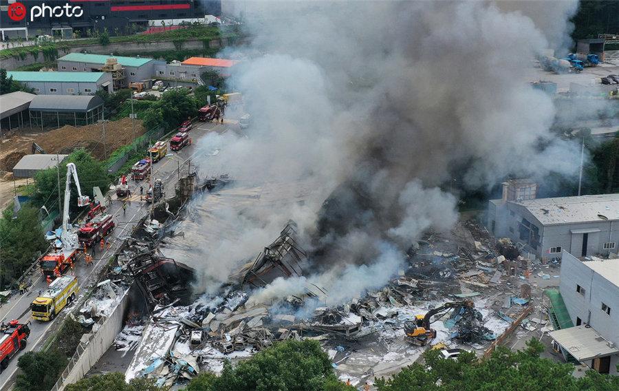 韩国纸箱厂发生大爆炸 致1死10伤