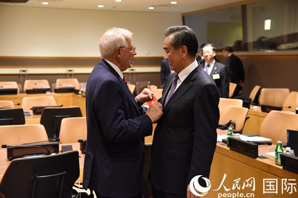 王毅会见西班牙外交大臣博雷利 杨俊 摄