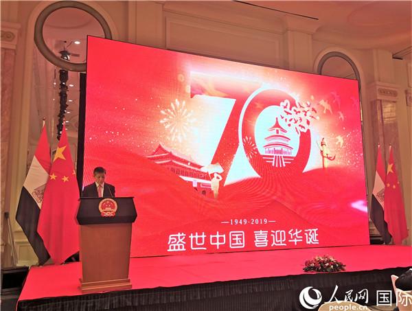 中国驻埃及大使廖力强在招待会上致辞 记者景摄