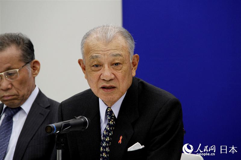 公益财团法人�G川和平财团名誉会长�G川阳平在交流会上致辞。(李沐航 摄)