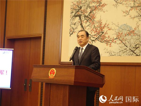 中国驻日本大使孔铉佑在庆功会上致辞。(吴颖 摄)