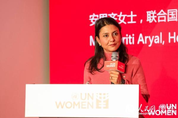 联合国妇女署中国办公室国别主任安思齐在启动仪式上发言。(联合国妇女署供图)