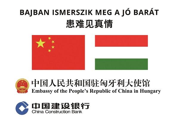 """中国建设银行向匈牙利捐赠物资,附赠""""患难见真情""""。"""