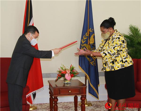 中国新任驻特多大使递交国书