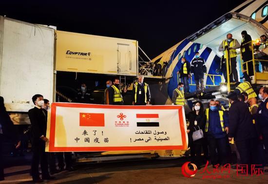 中国援助埃及的首批新冠疫苗运抵开罗