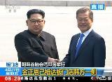 朝韩首脑在军事分界线握手 挽手共同跨过分界线