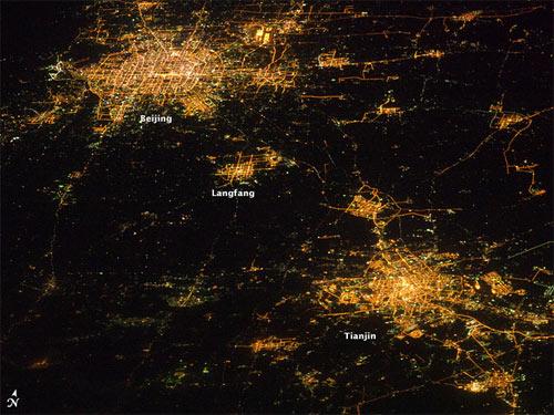 美国宇航局公布从太空拍摄的京津地区夜景